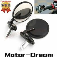 """7/8"""" Folding Bar End Motorcycle Mirrors Aluminum Black Right & Left Cafe Racer"""
