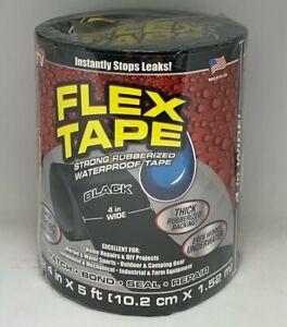 """Flex Seal Strong Rubberized Waterproof Flex Tape, 4"""" x 5' - Black"""