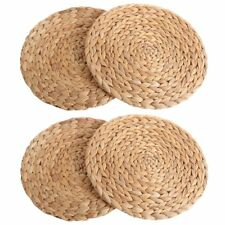 kilofly 4pc Natural Water Hyacinth Weave Placemat Round Braided Rattan