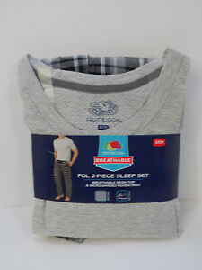 NEW MEN'S FRUIT OF THE LOOM MESH TOP & WOVEN PANT PAJAMA SET SIZE SMALL