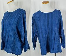 Vintage Blue Batik Rayon Long Sleeve Shirt!! Size L