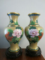"2 GORGEOUS VINTAGE CHINESE CLOISONNE 10 1/4"" VASES WITH WOODEN STANDS"