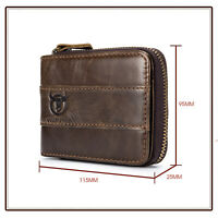 Genuine Leather Men's Wallet Zipper RFID Blocking Bifold Wallets ID Card Holder