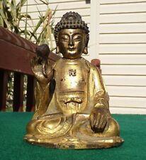 Asian Cast Bronze Gautama Buddha Gold Gild 15th C. Ming Dynasty 11.5cm Tall