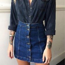 Women Button Front Mini Denim Skirt Casual High Waist A-line Jeans Skirt JX