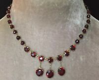 Vintage Edwardian jewellery delightful Garnet Drop Pendant Necklace
