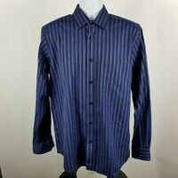 Bugatchi Uomo Mens Blue Dark Gray Striped L/S Dress Button Shirt Sz Large L