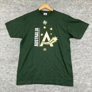 Majestic Australia Baseball T-Shirt Size M Green Short Sleeve Round Neck 2.35