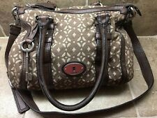 🔥NEW! FOSSIL MADDOX Brown Leather & Fabric Shoulder Crossbody Bag (READ)🔥