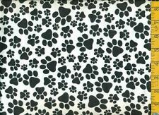1/2 yard Snuggle FLANNELTossed Black Dog Paw Prints on White BTHY