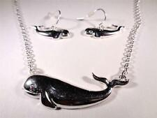 Beach Fashion Rhodium Aloha Nautical Sperm Whale Pendant Necklace & Earrings