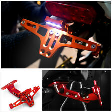 1X Red Motorcycles Adjustable License Number Plate Holder Bracket With LED Light