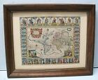 World Map by Jansson 1632  D A C Reproduction with Wood Frame Vintage