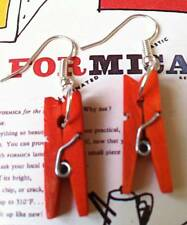 FUNKY KITSCH VINTAGE STYLE EMO RETRO RED CLOTHES PEG EARRINGS