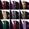 Business Mens Vest Waistcoat Dress Tie Necktie Clip Set Paisley Red Blue Black