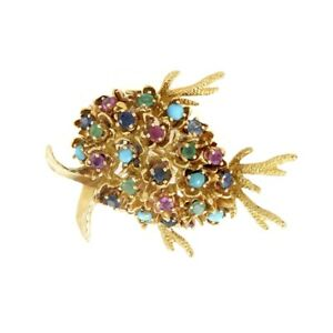 18K Yellow Gold Sapphire, Ruby, Emerald & Turquoise Tropical Fish Brooch