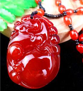 53x38x15mm Red Jade Carved Dragon Pendant Neckalce Chain Diameter:32cm BB4972-
