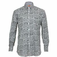 Mens Loud Shirt Retro Psychedelic Funky Party REGULAR Black White Tribal