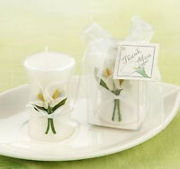Elegant Boxed White Calla Shaped Bridal Bride Candle Wedding Party Favors Decor