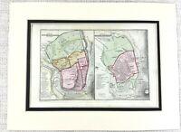 1866 Antique Map of Ancient Jerusalem Israel City Plan Hand Coloured Engraving