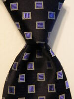 LUIGI BORRELLI NAPOLI Men's 100% Silk Necktie ITALY Luxury Geometric Blue EUC