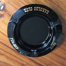 Vtg Harolds Club For Fun Reno NV Black Glass Ashtray w/Gold Lettering