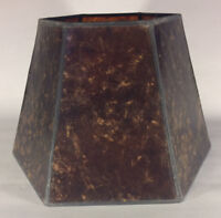 "7"" x 12"" x 7 1/2"" Antique Amber Hexagon Style Mica UNO Bridge Floor Lamp Shade"