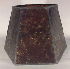 "7"" x 12"" x 7 1/2"" Antique Amber Hexagon Style Mica UNO Bridge Floor Lamp Shade"