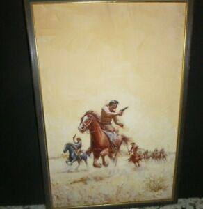 Vintage Western Art Painting- a cover of a Cowboy Paperback Book - Orren Mixer !