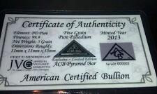 ACB Palladium PD BULLION 5Grain PYRAMID 9.99 CERTIFICATE OF AUTHENTICITY ^