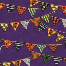 PUMPKIN PARTY PURPLE BUNTING HALLOWEEN FABRIC