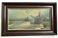 SM VICTORIAN ANTIQUE OIL PAINTING SAIL BOAT WATER NIGHT COUNTRY FINE ART FRAMED