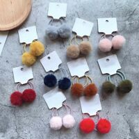 Winter 2pcs/set Girls Hair Accessories 3cm Rabbit Fur Ball Hair Ties For Kids
