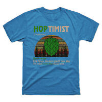 Hoptimist Definition Meaning Vintage Men's Tee Retro Cotton Short Sleeve T-shirt