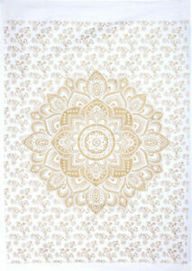 Ombre Mandala Gold Poster Tapestry Small Decorative Wall Hanging Indian Cotton