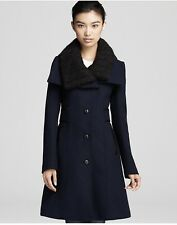 Mackage Navy Blue Wool Coat Leather Trim L