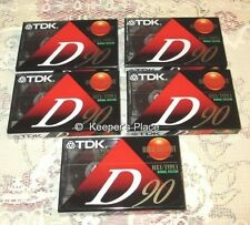 TDK  D90 High Output Audio Cassettes IEC1 Type I Factory Sealed Set Of 5 New