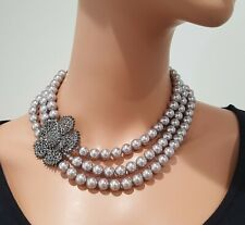 STUNNING FAUX GREY PEARL GLASS FLOWER STATEMENT NECKLACE