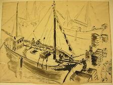Retour de pêche Dessin à l'encre sur calque signé D Walker marine ink drawing