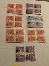 India 1950 Republic And 1951 Temple Stamps MNH Blocks