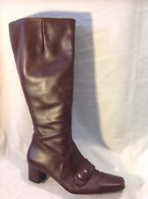 DUO Brown Knee High Leather Boots Size 38L