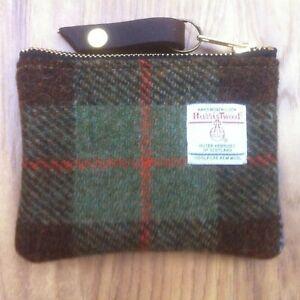 blue green Harris tweed coin purse, tartan purse, plaid purse, gift for her