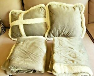 True North Ultra Mink To Sherpa Comforter King Silver Gray *ONLY PILLOWS/SHAMS*
