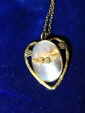 Vintage Military 12K GOLD Mother of Pearl Heart Pendant Locket Necklace Chain