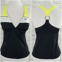 Nike Swim Jantzen Tankini Top Womens 10 Black Yellow White Padded Bra Racerback