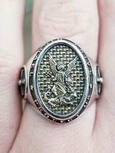 Saint Michael Design Sterling Silver 925 Solid Massive Ring Available sizes 6-14