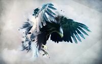 Abstract Eagle painting Canvas wall art home decor Animal watercolor oil paint
