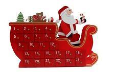 Wooden Christmas Advent Countdown Calendar Decoration Santa Sleigh Tree House