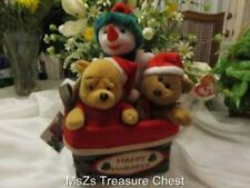 (2) New Beanie Babies & (1) Mini Bean Bag Santa Pooh in New Holiday Basket wTags