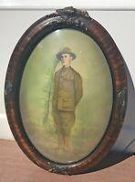 Antique World War 1 Portrait Doughboy Soldier USA Militaria Collectible Eagles